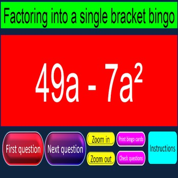 Factoring into a single bracket bingo