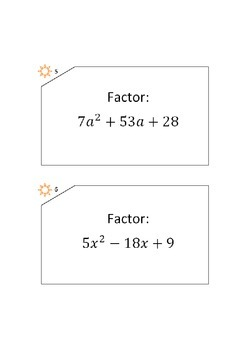 Factoring task cards with a>1