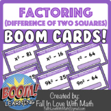 Factoring the Difference of Two Squares Boom Cards!