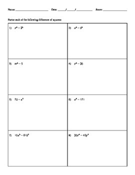 Factoring the Difference of Two Squares - H&I Practice Sheets Mini