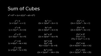 Factoring the Sum and Difference of Cubes - PowerPoint Lesson (3.7)