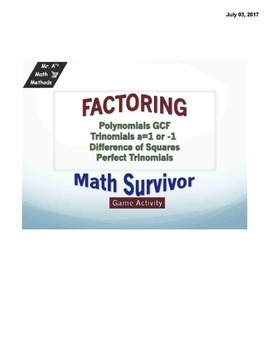 Factoring - trinomials and difference of square - Game