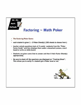 Factoring - trinomials and difference of squares - Game - Poker