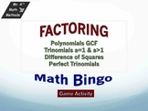 Factoring - trinomials and difference of squares - Game - Bingo