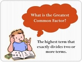 Factoring using Greatest Common Factor