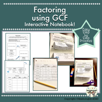 Factoring using GCF, Greatest Common Factor, Algebra, Interactive Notebook!