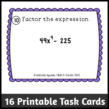 Factoring using the Difference of Two Perfect Squares Task Cards