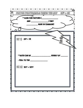 Factoring using the GCF Notes