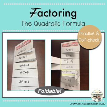 Factoring using the Quadratic Formula, Foldable