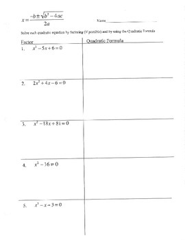 Factoring vs quadratic formula graphic organizer compare