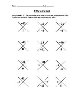 Quadratics factoring warm up- negatives