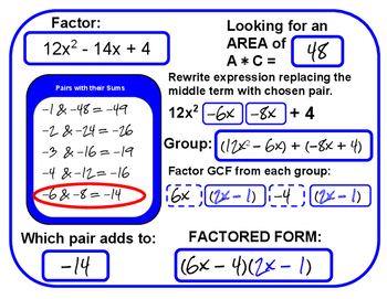 Factoring with a Leading Coefficient (with answers)