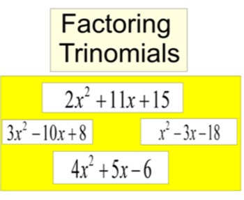 Factoring Trinomials Power Point Intro & 54 assignments on PDF, 950+ problems