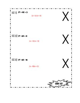 Factoring x^2 +bx + c Doodle Notes