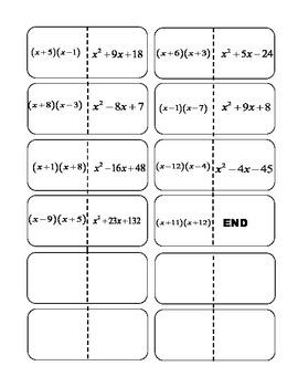 Factoring x^2+bx+c dominoes