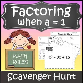 Factoring Trinomials a=1 Activity {Factoring Polynomials Algebra Scavenger Hunt}