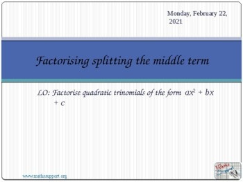 Factorisation by splitting the middle term