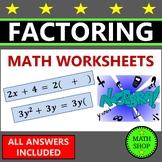 Factoring polynomials GCF Equivalent Expressions 6th Grade Math
