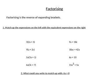 Factorising Linear and Quadratic Expressions