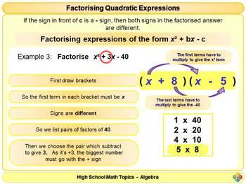 Factorising Quadratic Expressions for High School Math