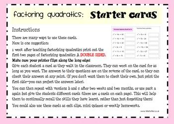 Factoring Quadratics