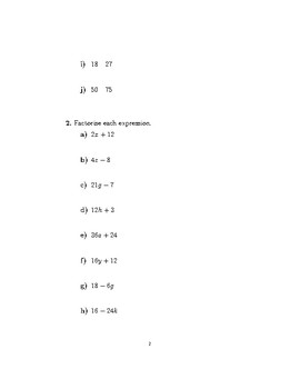 Factorising algebraic expressions (introductory) worksheet no 2 (with solutions)