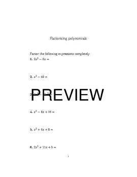 Factorising polynomials bundle