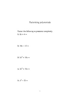 Factorising polynomials-different cases worksheet (with detailed solutions)