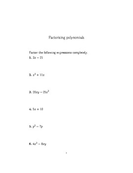 Factorising polynomials worksheet with worked solutions