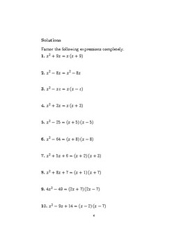Factorising quadratics 5
