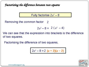 Factorising the difference of two squares