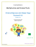Multiplication and Division Facts (0-12 in order) Quizzes