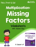 Finding The Missing Factors Worksheets, Division Related To Multiplication