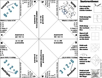 Factors Practice Activity Game for 3rd 4th 5th Grade
