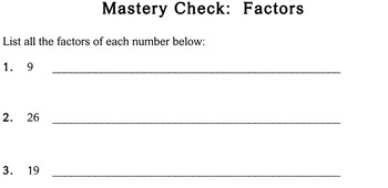 Factors, 5th grade - worksheets - Individualized Math