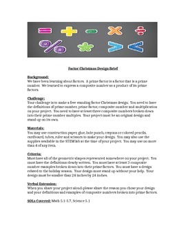 Factors Christmas Design Brief/STEM Children's Engineering