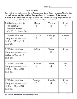 Factors: Color by Answer Differentiated Fun Pages
