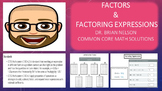 Factors & Factoring Expressions (PowerPoint Lesson with Printables!)