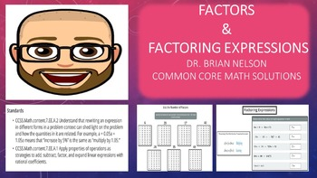 Factors & Factoring Expressions (PowerPoint Lesson with Pr