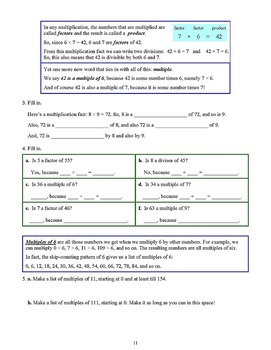 Factors, Factoring, GCF, and LCM, Grades 4 - 6