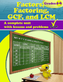 Factors, Factoring, GCF, and LCM, Grades 4 - 6 (Distance Learning)