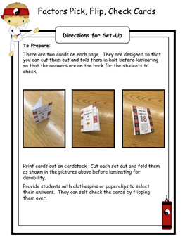 Factors Flip and Check Cards