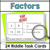 Factors Fourth Grade Math Riddle Task Cards