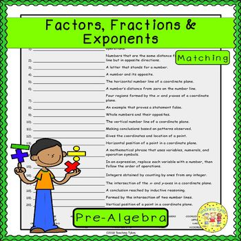 Factors, Fractions, and Exponents Matching