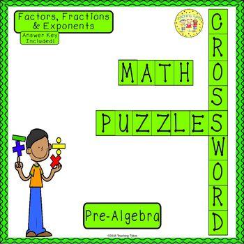 Factors, Fractions, and Exponents Pre-Algebra Crossword Puzzle