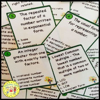 Factors, Fractions, and Exponents Pre-Algebra Task Cards