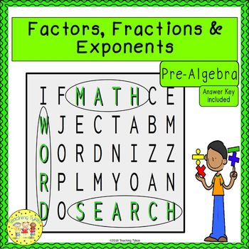 Factors, Fractions, and Exponents Word Search