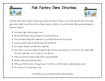 Factors Game: Math Game for 4th Grade (possibly 3rd & 5th): Math Workshop Center