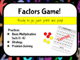 Multiplication Factors Game (Practices facts 1-6) NO PREP
