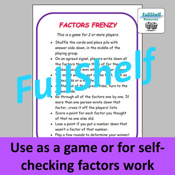 Factors Game
